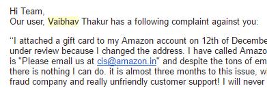 vaibhav Thakur complaint
